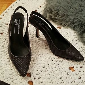 Donald J. Pliner Blue Woven Leather Slingback NWT